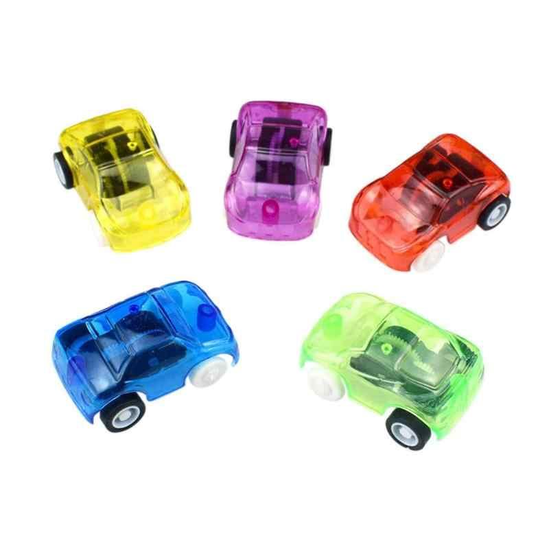 Plastik Transparan Mini Mainan Mobil Inersia Kecil Kendaraan Anak Mainan Menarik Kembali Diecast Mobil Mainan untuk Hadiah Ulang Tahun Anak-anak