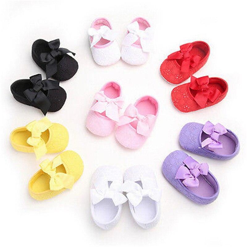 Hot Toddler Infant Baby Girl Boy Solid Cotton Bow First Walker Flower Shoes Crib Shoes Soft Sole Prewalker 0-18M