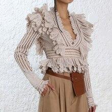 f8db112538d907 SHENGPALAE koronki wzburzyć koszula bluzka V Neck z długim rękawem Sexy bluzki  bluzki kobiet 2019 wiosna moda ubrania nowe FF702