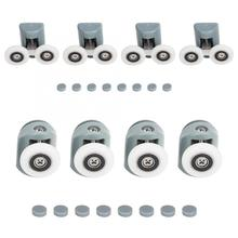 цены 4Pcs/set Bathroom Sliding Door Rollers Shower Sliding Glass Door Upper Runners Rollers Pulleys Wheel Replacement High Quality