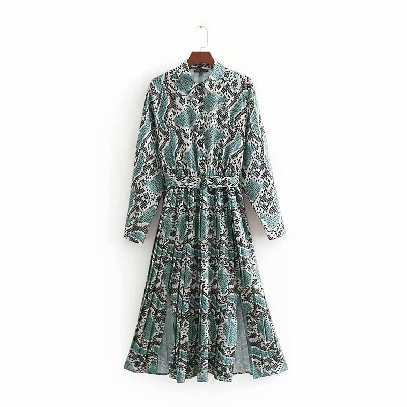 Spring 2019 New Women Dresses Vintage Retro Look Animal Pattern Colorful Snake Print Female Ankle Length Dress Vestidos Feminino image