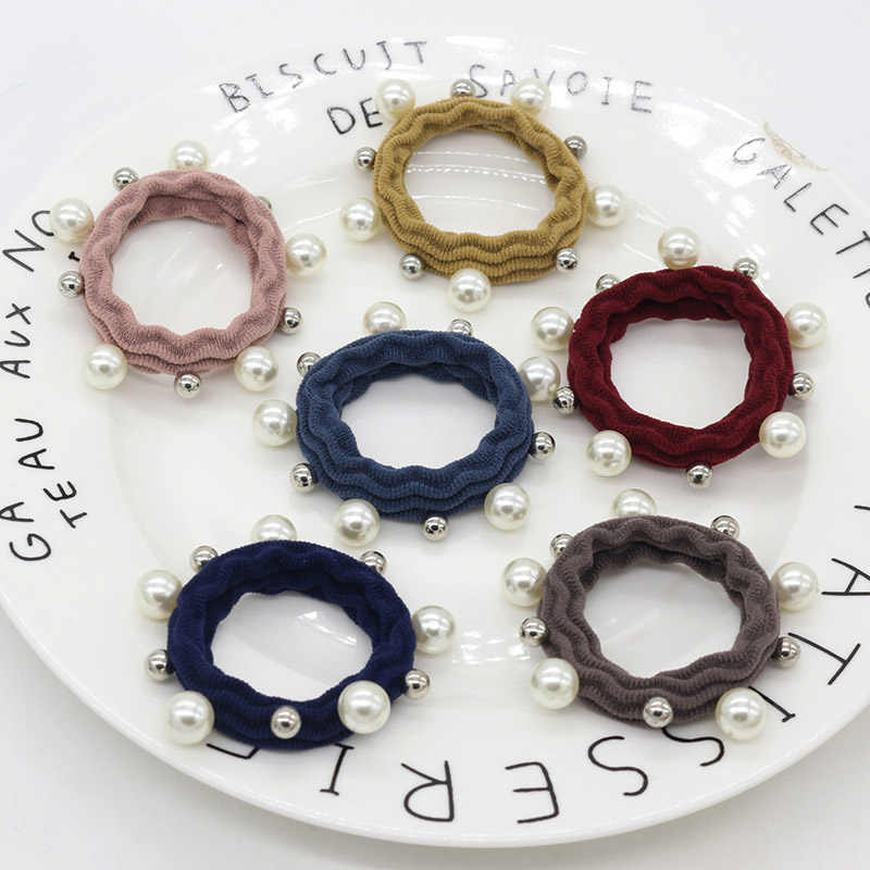 Girls Korean Hot Sale High Quality Popular Imitation Pearl Hair Rope 1PC Hair Accessories Elastic Hair Band Women