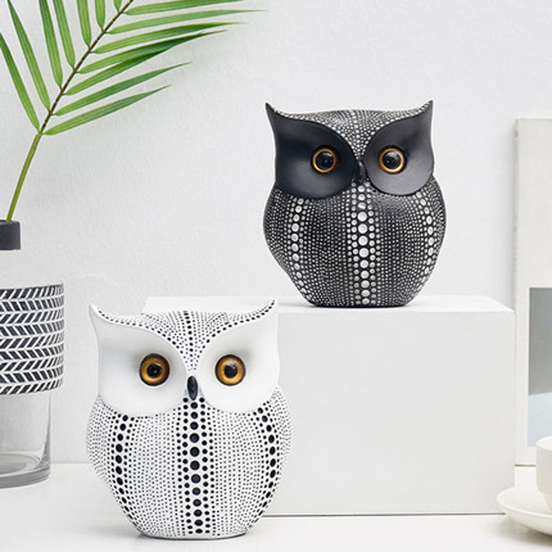 animal:  Nordic Style Minimalist Craft White Black Owls Animal Figurines Resin Miniatures Home Decoration Living Room Ornaments Crafts - Martin's & Co