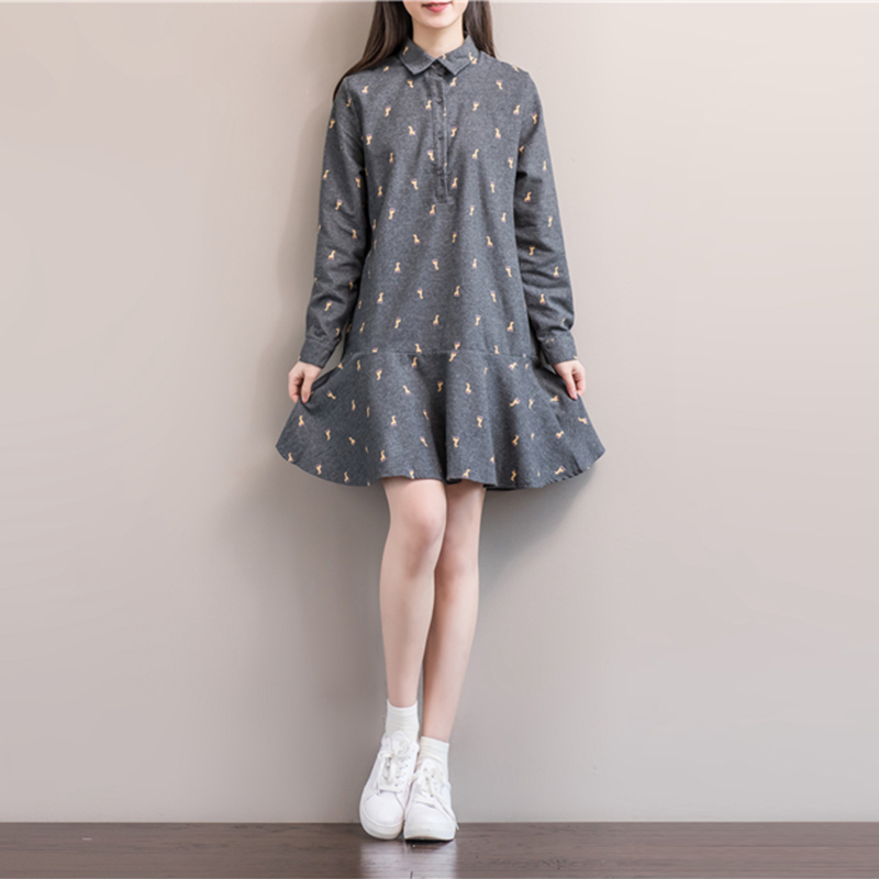 Plus Size Woman Dress Loose Vintage Floral Print Mini Long Sleeve Short Party Dresses Spring Casual Stand Neck Buttons Dress 2XL