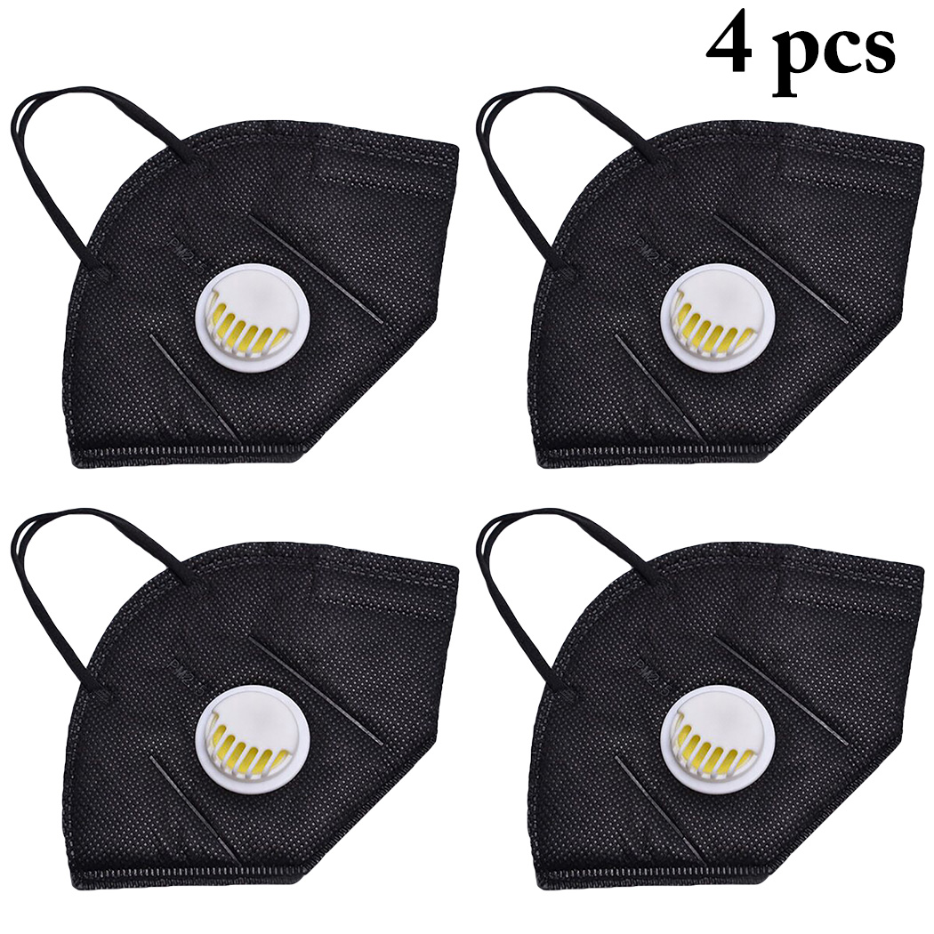 4pcs Respirator Mask With Breathing Valve Washable Cotton Activated Carbon Filter Mouth Masks Anti Dust Allergy Flu Mask
