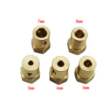 3mm 4mm 5mm 6mm 7mm Hexagonal Copper Coupling Coupler Column With Screws for Robot Car Wheel RC Models Toys Accessories Parts(China)