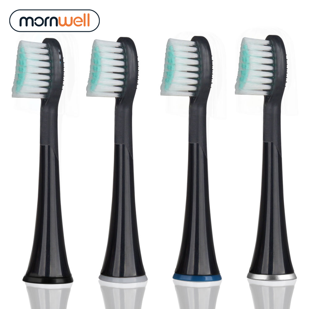 Mornwell 4pcs Black Rubberied Replacement Toothbrush Heads with Caps for Mornwell D01B Electric Toothbrush