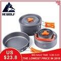 Hewolf al aire libre pot kettle de utensilios de cocina de aluminio plegable vajilla senderismo picnic camping cocina equipo para picnic