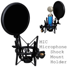 Universal Studio Condenser Microphone Mic Shock Mount with Articulating Head Telescoping height Microphone Holder Stand Bracket