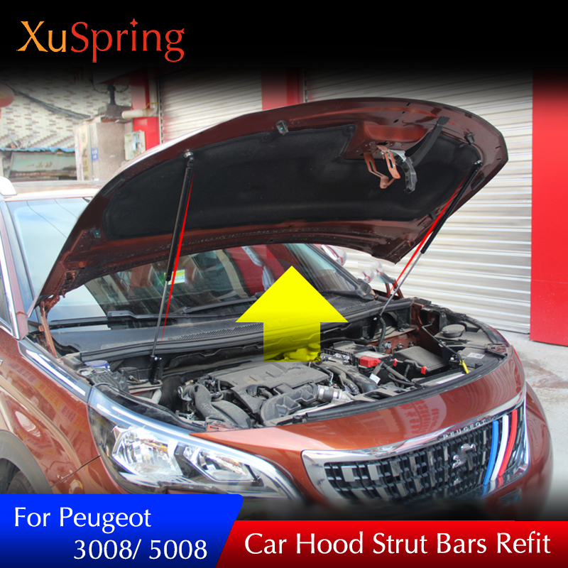 For 2016 2017 2018 Peugeot 3008 5008 Car Front Engine Cover Lift Supporting Spring Shock Hydraulic