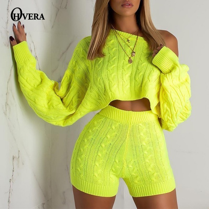 Ohvera Sweater Two Piece Set  Knitted Long Sleeve Crop Tops And Bodycon Shorts Suit Winter Sexy 2 Piece Set Women 2018 Outfits(China)