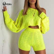 Ohvera Sweater Two Piece Set Knitted Long Sleeve Crop Tops And 2 Piece Set Women