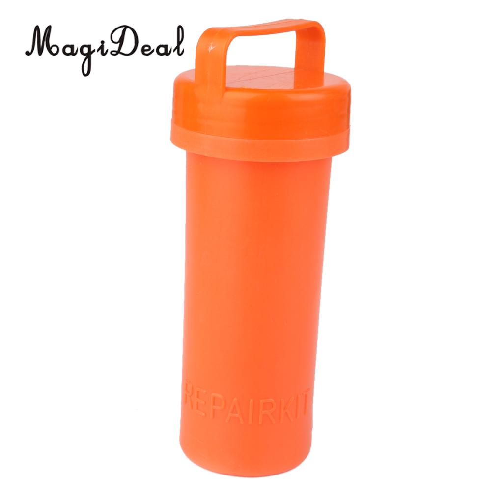 MagiDeal Marine Durable PVC Repair Kit Container Bucket For Kayak Inflatable Rubber Boat Orange Fishing Yatch Dinghy Accessories