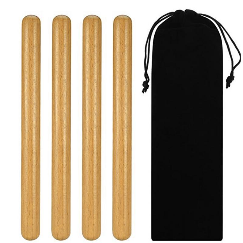 2 Pairs Classical Solid Hardwood Percussion Instrument 8 Inch Rhythm Sticks With A Carry Bag Good Quality Useful Equipment