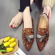 Embroidery Rivet flat Shoes women Fashion Casual lazy Loafers ladies Breathable Slip On Comfortable Suede Moccasin Female flats