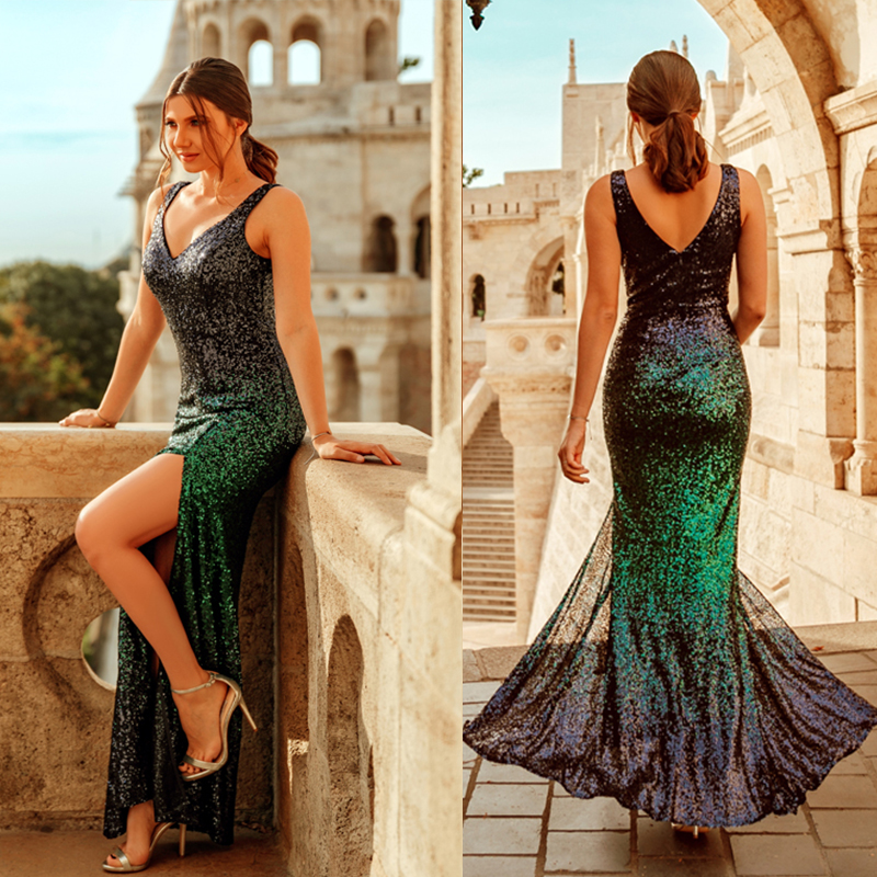 Green Sequined Evening Dresses Long 2019 New Arrival V-neck Sleeveless Mermaid Sparkle Leg Slit Sexy Long Party Gowns EB25437NB