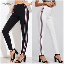 Summer Black White Elastic Casual Pencil Pants Slacks For Women Side Striped Mid Waist Skinny Stretch Leggings 2019 Slim Trouser casual striped color block elastic waist leggings for girls