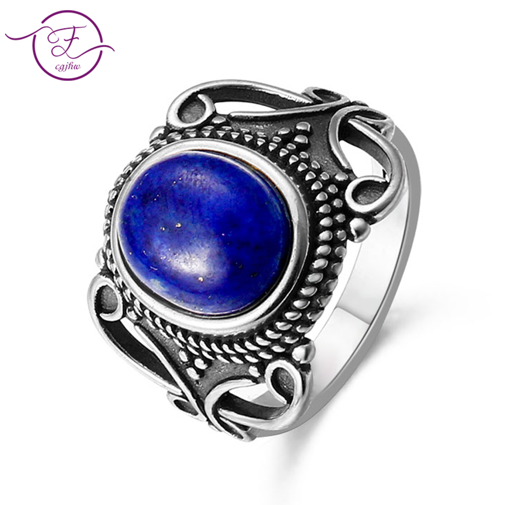 New Vintage Fine Jewelry Hollow Out 8X10MM Natural Blue lapis lazuli Rings 925 Sterling Silver For Women Anniversary Gifts