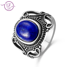 лучшая цена New Vintage Fine Jewelry Hollow Out 8X10MM Natural Blue lapis lazuli Rings 925 Sterling Silver For Women Anniversary Gifts