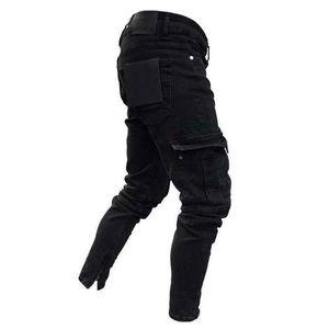 Image 3 - Moda erkek sıska Denim yıkanmış yıpranmış kalem pantolon Vogue erkek cepler Slim Fit kargo pantolon Joggers pantolon