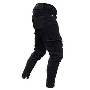 Image 3 - Moda męska Skinny Denim zniszczone postrzępione ołówkowe spodnie Vogue męskie kieszenie Slim Fit Cargo spodnie spodnie do biegania