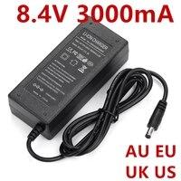 1 Uds 8,4 V 3A fuente de alimentación AC 100-240V a DC adaptador de corriente US / EU / UK / AU enchufe DC 8.4V3000mA