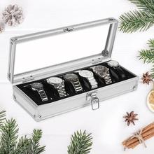 2019 6 Grids Aluminum Watch Box Case Professional Holder Organizer for Clock Watches Jewelry Boxes Case Display