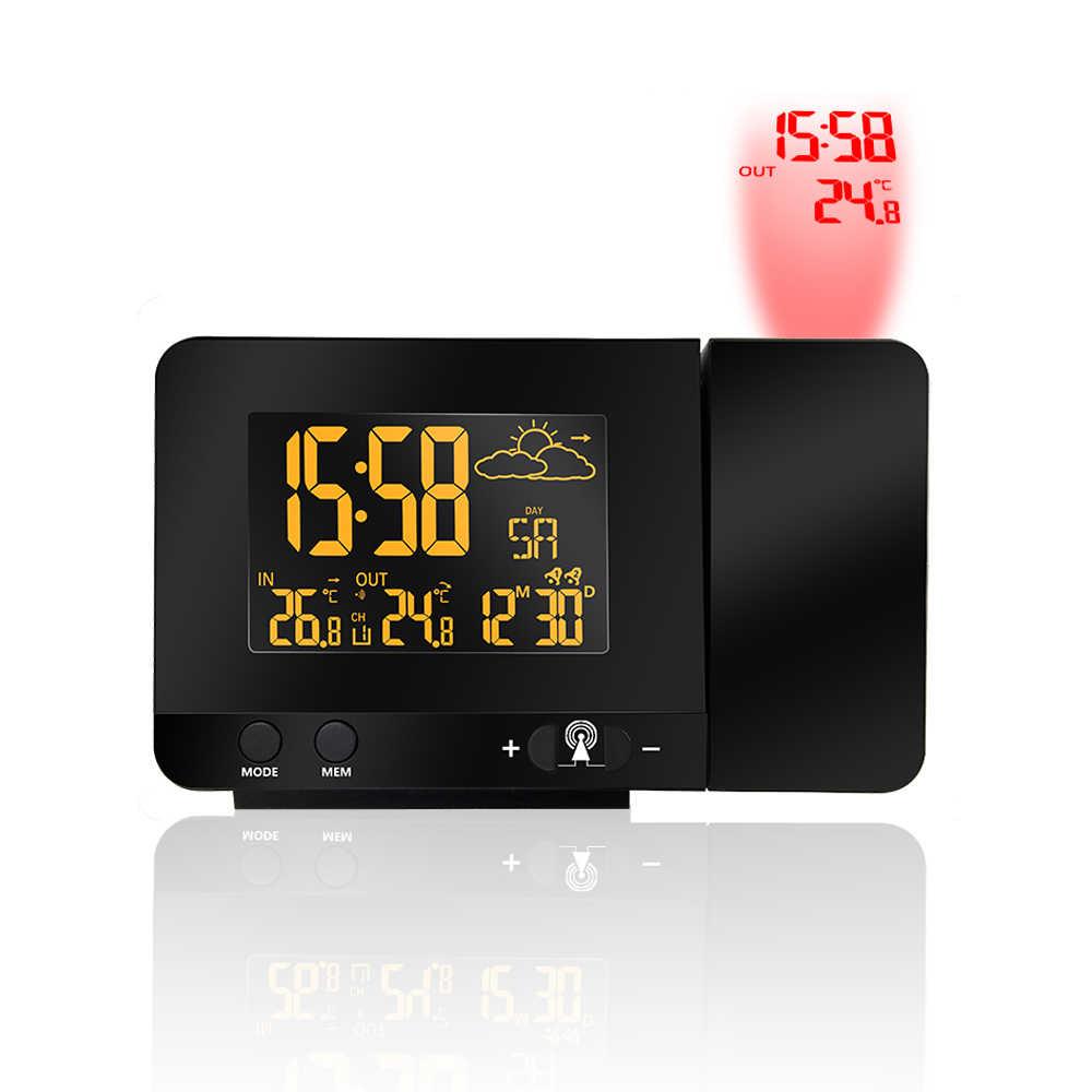 Hot Proyeksi Lampu Latar LED Warna Layar Proyektor Cuaca VA Digital Jam Alarm Snooze Alarm Jam Jam