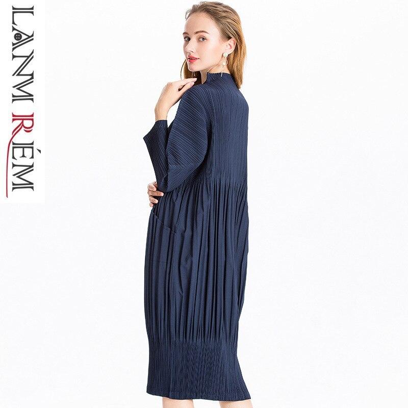 LANMREM 2019 คุณภาพสูงจีบเสื้อผ้าผู้หญิงแขนยาวยืดหยุ่นเดี่ยวหญิงชุดกับกระเป๋าร้อน JL566-ใน ชุดเดรส จาก เสื้อผ้าสตรี บน   1