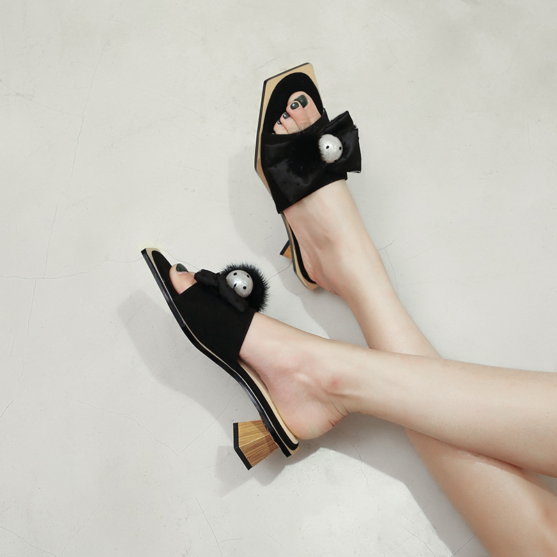 Fashion New Spring Woman Shoes in Square toe Mid High Heel with Butterfly knot Hoof Heels Basic Ladies Slides Flock MaterialFashion New Spring Woman Shoes in Square toe Mid High Heel with Butterfly knot Hoof Heels Basic Ladies Slides Flock Material