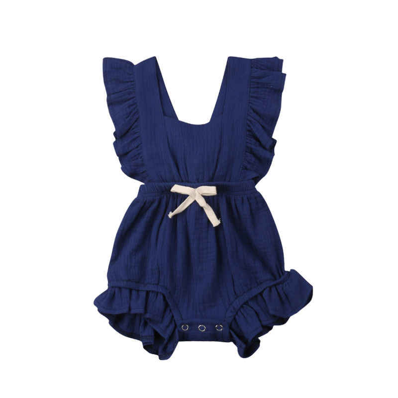Summer Newborn Baby Girls Bodysuits Ruffle Solid Color Strap Backless Toddler Kids Jumpsuits Outfits Infant Beach Sunsuit