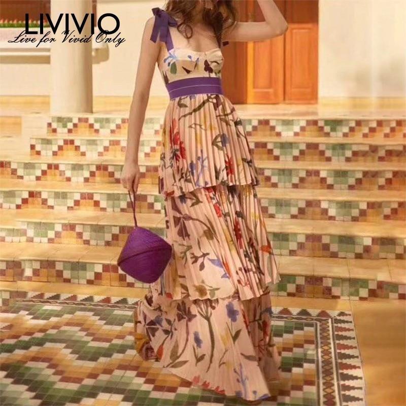LIVIVIO Streetwear Summer Floral Bandage Boho Long Maxi Strap Dress 2019 Clothes for Women Sundress
