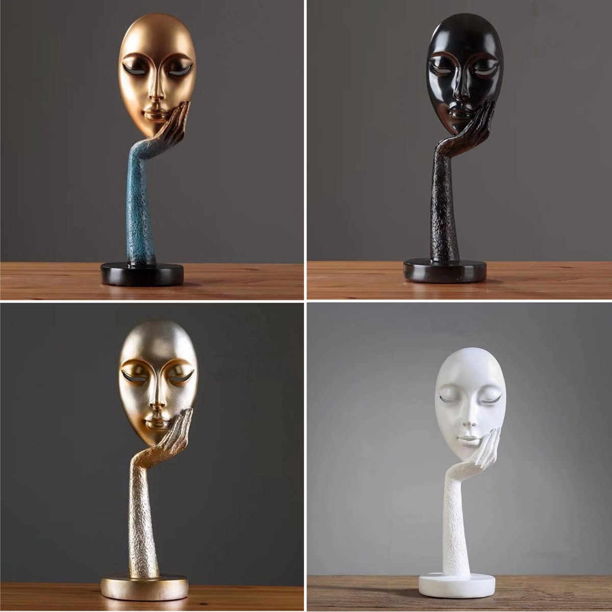 Abstract Statues Sculpture Art Crafts Modern Human Meditators Character Resin Figurine Lady Face Home Decorative