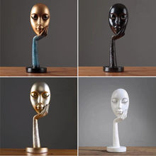Abstract Statues Sculpture Art Crafts Modern Human Meditators Character Resin Figurine Lady Face Home Decorative(China)