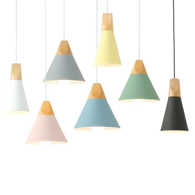 Dining Room Pendant Lights Slope lamps Wood And Aluminum Restaurant Bar Coffee LED Hanging Light Fixture
