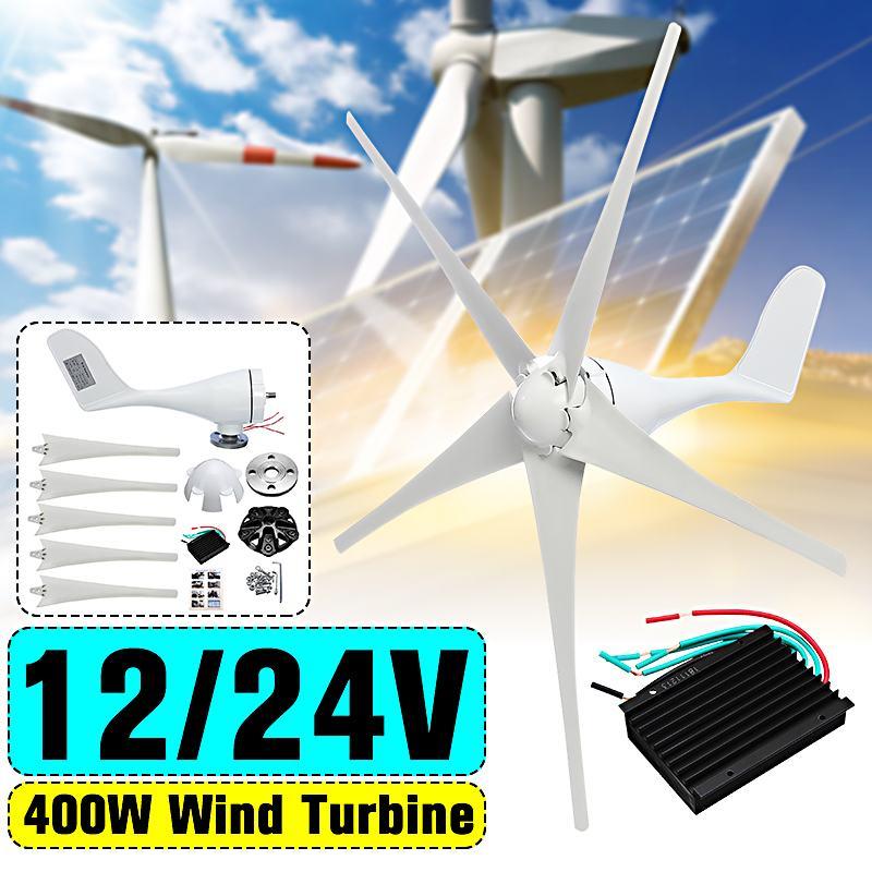 Générateur de éoliennes 400 W générateur de vent 5 lames 12 V 24 V avec contrôleur externe étanche 600 W pour la maison