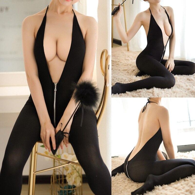 Women Sexy Sissy Lace Halter Zipper Deep V Neck Backless Jumpsuit Lingerie Babydoll Underwear Nightwear