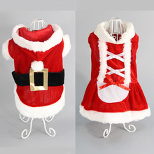 Christmas Dog Clothes Winte Coat Clothing Santa Claus Classic Pet Dog Christmas Dress Cute Puppy Outfit For Dog XXS-L juqi christmas coat hat for pet dog red white black size l