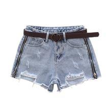 2019 Summer New Fashion Blue Side Zipper Denim Shorts Womens Ripped Holes Jeans Female High Waist Cowboy Short Feminino