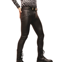 Mens Streetwear Motorcycle Stretchy Faux Leather Pants Male Elastic Tight Trousers Leather Shiny Pants Night Club Joggers A9076