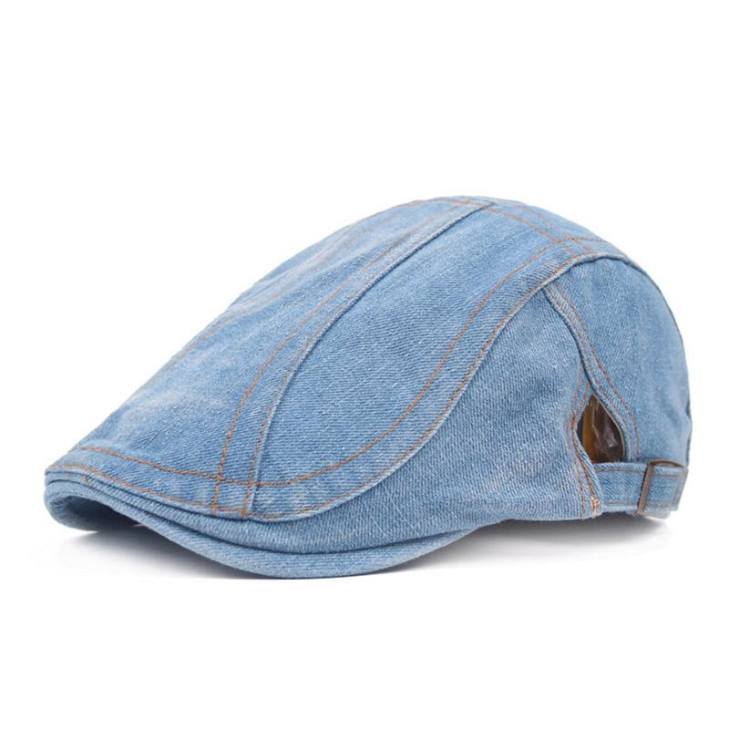 Denim Beret Unisex Adjustable Men's Jean Cloth Beret Peaked Cap Retro And Casual Hat Advance Hat Summer Sun Hat