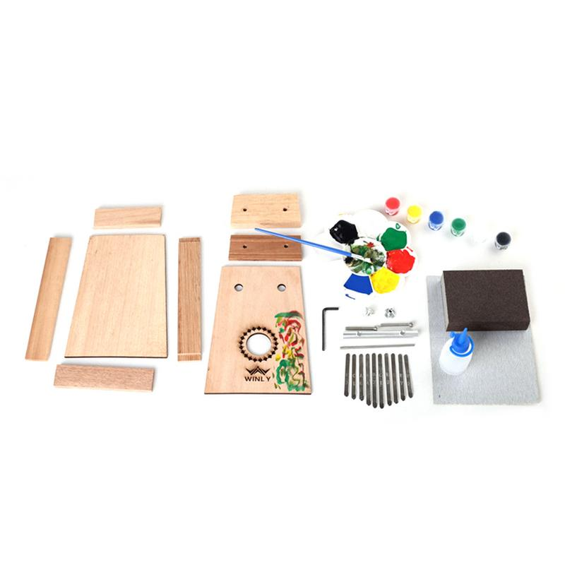 Brand New DIY Thumb Piano Kalimba 10 Tone Assembly Children's Wooden Colored Paint Finger Piano For Group Building