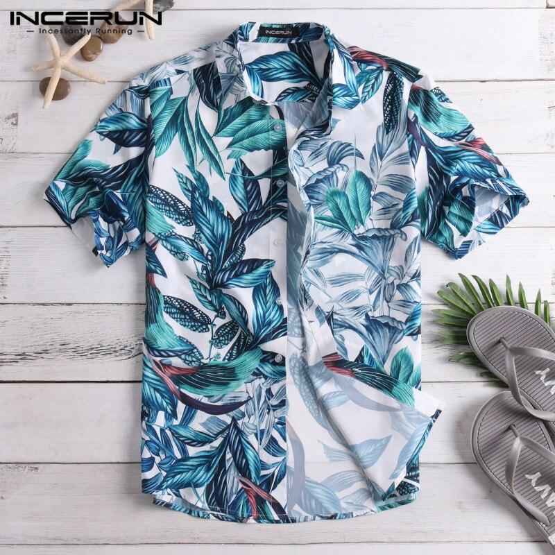 Men Shirt Short Sleeve Lapel Button Down Loose Beach Camisa Casual Shirt Hawaiian Men Clothes Vacation 2019 Tropical Tee Tops
