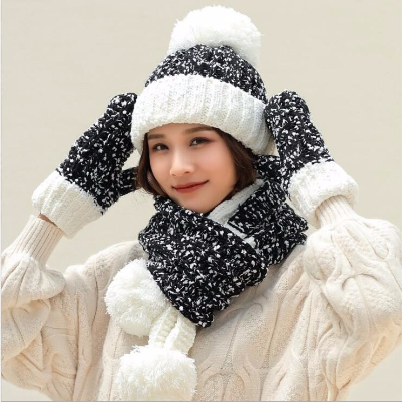 Women Lady Winter   Skullies     Beanies   Warm Knitted hats Snowflake Hat Gloves And Scarf Winter Set
