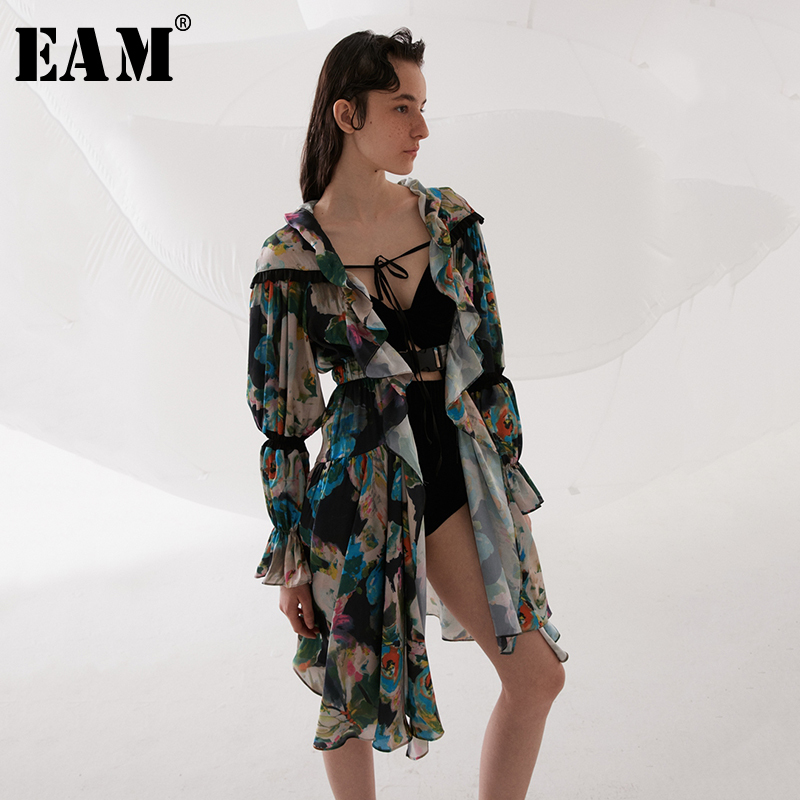[EAM] 2019 New Spring Summer Long Sleeve Pattern Printed Ruffles Split Joint Hollow Out Windbreaker Women   Trench   Fashion JR511
