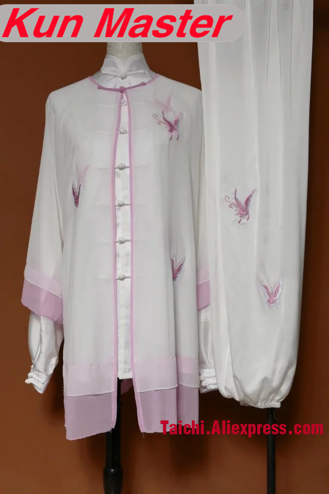 Custom Tai Chi Performance Uniform White Butterfly Embroidery  Martial Art Clothing For Kung Fu Three Pieces Veil Jacket Pants