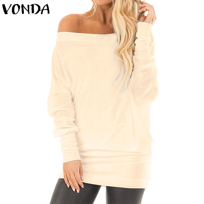 VONDA Women's Long Sleeve   Blouses     Shirts   2018 Batwing Sleeve Solid Tops Off Shoulder Oversized Loose Fit Tunic Tops Plus Size