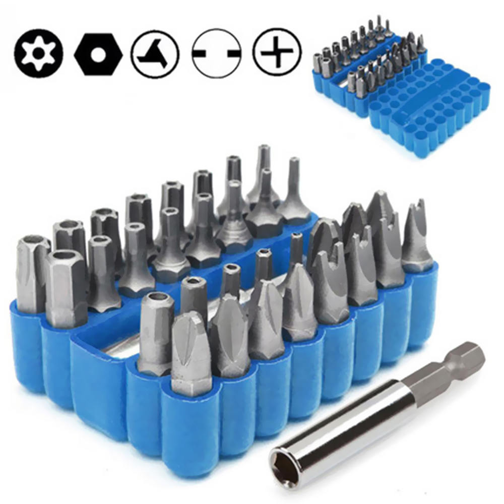 Screwdriver Bit Set 33 Piece Screwdriver Bits Suit Safety Screws Hex Screws Bits Portable Repair Tool Kit For Any Drills
