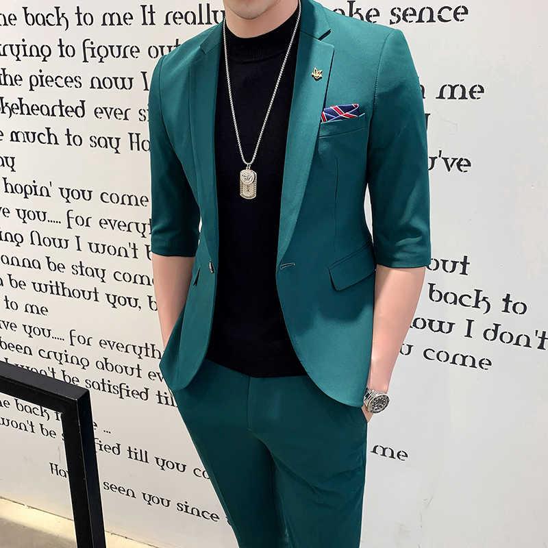 231543eaec 2019 Red Terno Smoking Men's Suits Elegant White Wedding Dinner Dress 2 Pcs  Green Suits Mens Slim Fit Suits Pink New Tuxedo