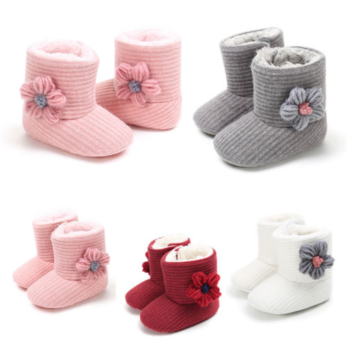 Newborn Toddler Bow Boots Baby Infant Girl Soft Soled Casual Warm Winter Shoes Baby Girls 0-18M